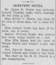 Cemetery Notes October 18, 1907 :: Cemetery, a Freedmen's Community, Rutherford County, Tennessee