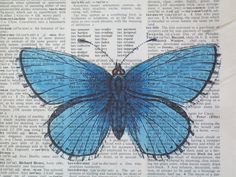 Blue Butterfly Vintage Dictionary Page Print by ThePaperSnail, $6.00