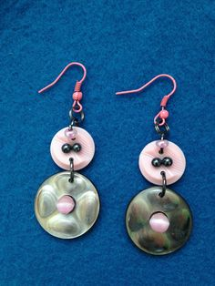 Unique Pink and Grey Button Earrings, Pink and Grey Dangle Fashion Earrings, Fashionable Button Earrings, Creative Button Dangle Earrings by CatterflyStudios on Etsy