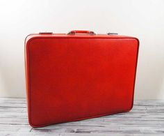 Vintage Bright Orange Red Invicta Suitcase by SalvageLoveOnEtsy, $42.00