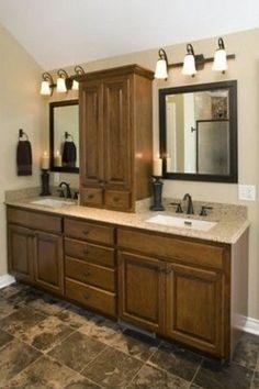 Double Sink Vanities with Storage Towers bathroom vanity tower