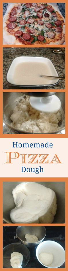 Homemade Pizza Dough Recipe - Quick and easy, makes 3 pizza doughs for thin crust (or 2 for regular crust). Find the recipe (and other pizza ideas) here: www.theoliveblogger.com/2016/07/03/foodie-friday-pizza-time/