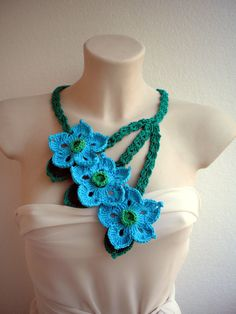 Tris  Necklace Crocheted Woman Flower Collar  Fashion Cowl NEW COLECTION. $35.00, via Etsy.