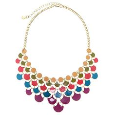 Enamel Glass Chandelier Statement Chain Necklace Women's Retro Fashion Jewelry