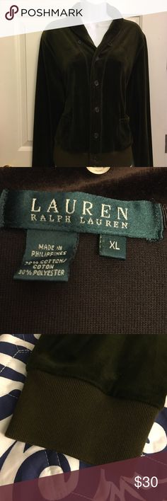OFFER MERalph Lauren Velour Jacket Pre loved. Excellent condition. Can Fit large too (Pants size medium available. See the suit post) Dark military green. Please see pictures. Make an offer. Bundle and save more. All my prices are negotiable. NO TRADES.  $5 items are final priced. Everything is cross posted. No PayPal. Pet/Smoke Free Home  We ship everyday. Huge variety of size and items available. Ask me! Ralph Lauren Jackets & Coats