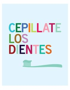 Cepillate Los Dientes - 8 x 10 bathroom wall art print - Spanish, via Etsy.