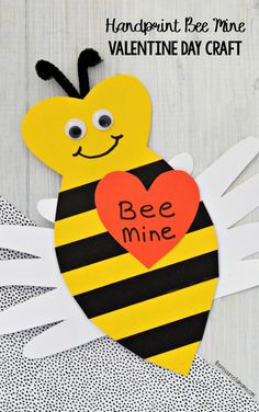 This adorable Handprint Bee Mine Valentine Day Craft makes a cute kid made craft, card and keepsake for Valentine's Day. #kidcrafts #kidcraft #valentineday #craftsforkids
