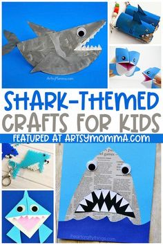 Celebrate Shark Week or an ocean theme with these fun & cute shark crafts for kids! Ocean Crafts for Kids #craftsforkids #oceancrafts #artsymommadotcom Ocean Theme Crafts, Ocean Animal Crafts, Sea Crafts, Animal Crafts For Kids, Ocean Themes, Crafts For Kids To Make, Toddler Crafts, Preschool Crafts, Ocean Kids Crafts