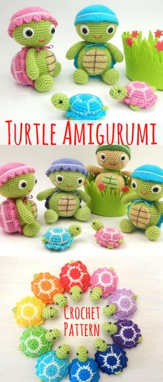 Turtle amigurumi crochet pattern. Make your own adorable turtles. Love the mini colorful crochet turtles #turtles #ad #amigurumi #pattern