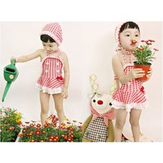 Red Vintage Baby Girl Swimsuit