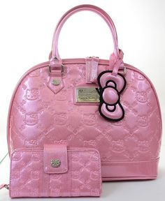 c58908848364 Hello Kitty Pink Glitter Embossed Patent Tote Bag Purse and Wallet SET  Loungefly