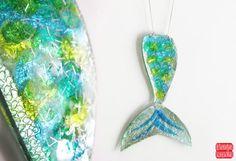 Mermaid Tail Necklace Resin Mermaid Pendant by petiteutile on Etsy