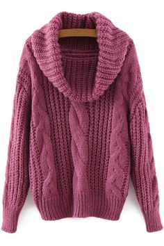 Shop Turtleneck Cable Knit Purple Sweater at ROMWE, discover more fashion styles online. Pull Torsadé, Loose Knit Sweaters, Cable Sweater, Purple Sweater, Sammy Dress, Sweater Fashion, Swagg, Cute Fashion, Fall Outfits