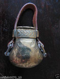 ANTIQUE OTTOMAN BRASS POWDER FLASK Powder Horn, Flasks, Horns, Metal Working, Gun, Ottoman, Hunting, Pouch, Antiques