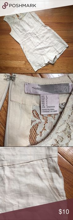 Linen Romper EUC tan linen romper. Nice lace detail at top. Two pockets. Zipper is broken but once fixed will be a great summer piece. Forever 21 Shorts