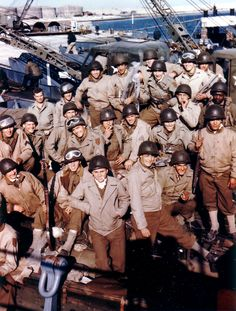 """Caption: """"US soldiers of the 1st Infantry Division in England prior to the Normandy Invasion - June 1944."""""""
