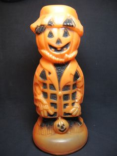 Vintage Halloween Blow Mold ~ Pumpkin Man, circa 1960's.