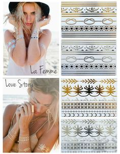 "(9118) Temporary tattoo, Gold and Silver, lasts 4 to 6 days.  Price:  $29.  FREE SHIPPING! Package includes 1 sheet gold &  1 sheet silver. Please comment with with La Femme or Love Story!   Made in the USA.  Passes safety standards for cosmetic products and meets all domestic and international regulatory requirements.  Do not apply to sensitive skin, near eyes, or if you are allergic to adhesives.  To purchase, comment ""Sold"" then Connect here: https://www.soldsie.com/pin/521796 When ..."
