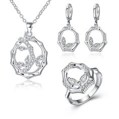 lureme Fashion Plants Bead Necklace Earring Ring Jewelry Set for Women 925 Silver Jewelry (js000662)