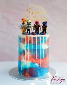 Roblox themed birthday cake with a white chocolate drip and Roblox toys. Call or email us to design your dream cake today! Roblox Birthday Cake, 9th Birthday Cake, Roblox Cake, Themed Birthday Cakes, Themed Cakes, Birthday Ideas, White Chocolate Cake, Chocolate Drip, Video Game Cakes