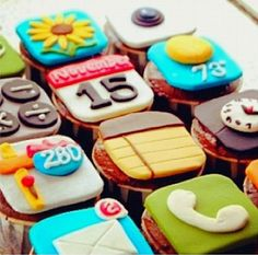 iphone cupcake, make a sheet cake split in half make top of iphone write happy birthday and take other half as bottom of cake and write name :) cupcake flavor oreo in center ;)