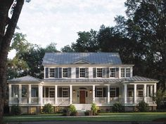Build my dream home..a white home with a wrap around porch, black shutters, and a red front door