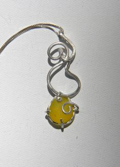 Sea Glass Necklace Vibrant Yellow Wire Sculpture Argentium Sterling Silver