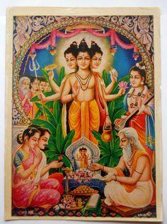 India Vintage Calendar Print Hindu God Duttatry Pujan GNGP578 | eBay