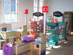 The Market at the Children's Museum of Phoenix Kids Indoor Playhouse, Build A Playhouse, Indoor Playground, Inside Playground, Daycare Design, Kids Daycare, Kids Play Area, Kids Room, Playroom Art
