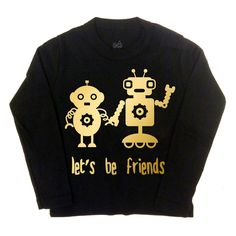 Robot Friends Long Sleeve Tee with Gold Foil Print