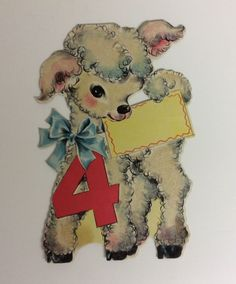 Vintage hallmark 1945 greetings card greeting cards have all been vintage greeting flocked fuzzy lamb 4 yr old birthday hallmark greeting card m4hsunfo