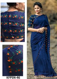 Stand out from the rest of the crowd wearing this Blue Colored Beautiful Georgette Saree from the house of Grab and Pack. Made of georgette, this saree is quite comfortable to wear. The Beautiful Embroidary makes this saree look even. Blouse Back Neck Designs, Fancy Blouse Designs, Saree Blouse Patterns, Designer Blouse Patterns, Saree Blouse Designs, Dress Patterns, White Patterns, Saree Color Combinations, Kimonos