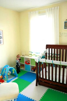"1/2"" Eco Soft Flooring tiles in the baby's playroom!! We love this DIY customer's install. For more info, visit: http://www.rubberflooringinc.com/interlocking-tile/foam/12-eco-soft-tile.html"
