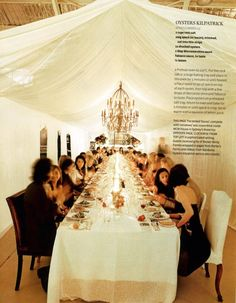 inside tented dinner party