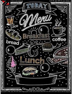 Nice Chalk Restaurant Blackboard menu with hand drawn chalk foods like pies, sandwiches, coffee, bread, juice and more. Menu Restaurant, Resturant Menu, Blackboard Menu, Decoration Vitrine, Chalkboard Designs, 5d Diamond Painting, Blackboards, Chalk Art, Painting Patterns