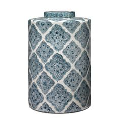 This cannister is a simple contemporary column shape in a sophisticated Arabic indigo pattern, repeated over a bone white porcelain background. - Oran Blue and White Ceramic Canister Jamie Young Company - Eclectic Design, Interior Design, Decorated Jars, Coastal Style, Ceramic Vase, Canisters, White Porcelain, White Ceramics, Decorative Boxes