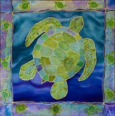 Green Sea Turtle Silk Painting Tapestry - Textile  - Green Sea Turtle Silk Painting Fine Art Print