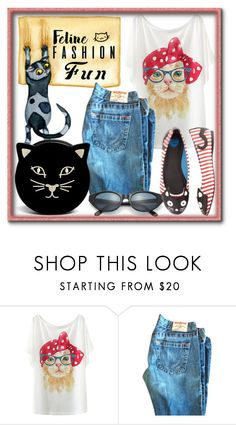 """Feline Fashion"" by slynne-messer ❤ liked on Polyvore featuring True Religion, Christian Roth and Charlotte Olympia"