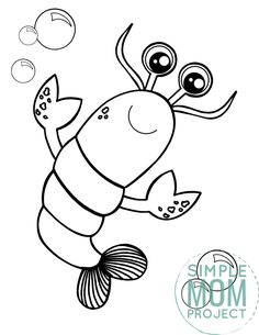 Maine lobster make really great seafood, but they also make really great coloring pages too! This free printable black and white cartoon lobster is great for kids of all ages who love all kinds of fish, crab, cray, ocean and sea animals alike. Start your ocean clipart coloring book today by printing this free lobster coloring page! #lobstercoloring #oceananimalcoloring #SimpleMomProject Mandala Coloring Pages, Animal Coloring Pages, Colouring Pages, Coloring Books, Lobster Crafts, Lobster Drawing, Sea Creatures Crafts, Ocean Animal Crafts, Black And White Cartoon
