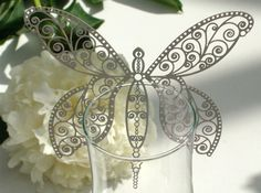 The Hummingbird Card Company ~ Laser-Cut Paper Prettiness for your Wedding or Special Event Laser Cut Paper, Laser Art, Origami And Quilling, Quilling Craft, Paper Quilling, Laser Cut Wedding Stationery, Butterfly Mobile, Dragonfly Art, Butterfly Decorations