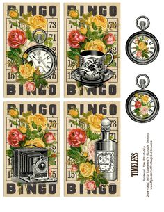 ephemerasvintagegarden.blogspot.com-Free Printable – Timeless Vintage Bingo Cards - Hi lovelies! I've got a set of vintage Bingo cards for you today. These would look pretty on greeting cards or as hang tags for gifts or in your journals.