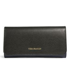 Classic Navy Leather Audrey Wallet by Vera Bradley #zulily #zulilyfinds