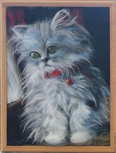 """Купить Картина """"Пушистик"""" - комбинированный, картина в подарок, картина для интерьера, картина из шерсти, картина в детскую"""