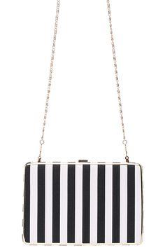 #ROMWE Black & White Striped Print Bag