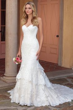 Lace wedding dress - mermaid-style wedding dress with strapless neckline. Style 2327 Lacey by Casablanca Bridal. See more inspo on WeddingWire!