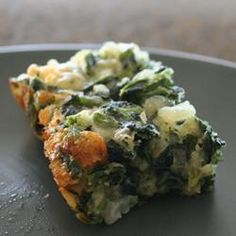 Called Spinach Brownies but I decided to use Kale instead and I added pieces of crispy bacon too!. I did not use the cheese. Turned out very well! I served these squares as a side offering instead of potatoes. My guests all wanted the recipe-Yum!