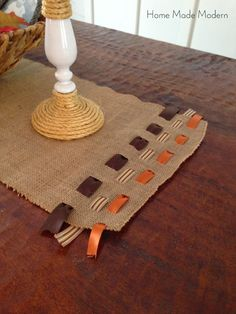 15 minute burlap table runner-I would sew ends of ribbon so they don't come out. Simple Centerpieces, Thanksgiving Centerpieces, Thanksgiving Crafts, Fall Crafts, Holiday Crafts, Centerpiece Ideas, Candle Centerpieces, Wedding Centerpieces, Diy Crafts