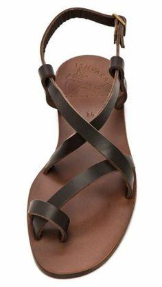 sandales femme en cuir marron, sandales en cuir marron