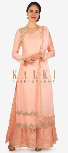 Buy Online from the link below. We ship worldwide Click Anywhere to Tag Straight palazzo suit in baby pink with cut dana and french knot embroidery only on Kalki  Straight suit featuring in baby pink cotton. Shoulder and hem line are embellished in cut dana and french knot embroidery. Matched with palazzo pant in silk with geometric motif weave all over. Matched with dupatta in tissue with embroidered cascade border. Slight variation in color is possible.