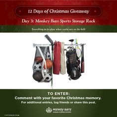 Day 3 brings us a Sports Storage Rack! Perfect for storing all of juniors toys and equipment!   Enter to win on Facebook today.